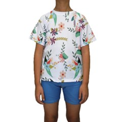 Floral Backdrop Pattern Flower Kids  Short Sleeve Swimwear