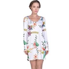 Floral Backdrop Pattern Flower Long Sleeve Nightdress