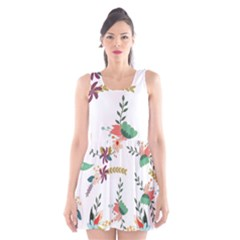 Floral Backdrop Pattern Flower Scoop Neck Skater Dress