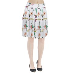 Floral Backdrop Pattern Flower Pleated Skirt