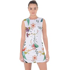 Floral Backdrop Pattern Flower Lace Up Front Bodycon Dress