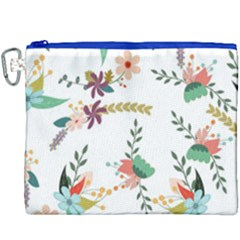 Floral Backdrop Pattern Flower Canvas Cosmetic Bag (xxxl)
