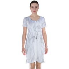 White Background Pattern Tile Short Sleeve Nightdress