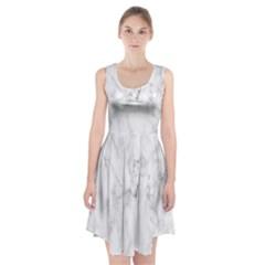 White Background Pattern Tile Racerback Midi Dress