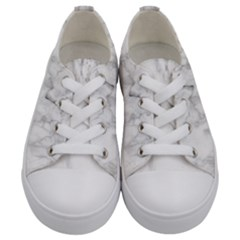 White Background Pattern Tile Kids  Low Top Canvas Sneakers