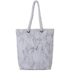White Background Pattern Tile Full Print Rope Handle Tote (small)