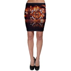 Butterfly Brown Puzzle Background Bodycon Skirt