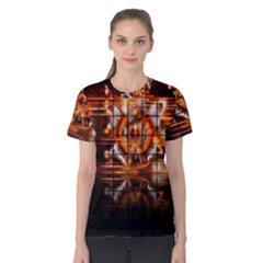 Butterfly Brown Puzzle Background Women s Cotton Tee