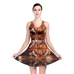 Butterfly Brown Puzzle Background Reversible Skater Dress