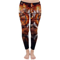 Butterfly Brown Puzzle Background Classic Winter Leggings