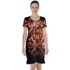Butterfly Brown Puzzle Background Short Sleeve Nightdress