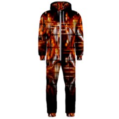 Butterfly Brown Puzzle Background Hooded Jumpsuit (men)