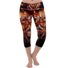 Butterfly Brown Puzzle Background Capri Yoga Leggings