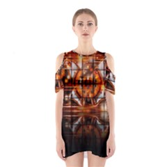 Butterfly Brown Puzzle Background Shoulder Cutout One Piece