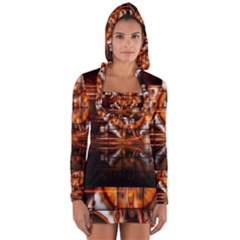Butterfly Brown Puzzle Background Long Sleeve Hooded T Shirt