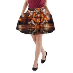 Butterfly Brown Puzzle Background A Line Pocket Skirt