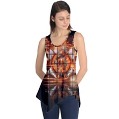Butterfly Brown Puzzle Background Sleeveless Tunic