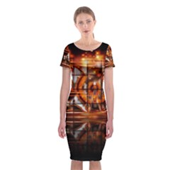 Butterfly Brown Puzzle Background Classic Short Sleeve Midi Dress
