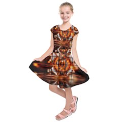 Butterfly Brown Puzzle Background Kids  Short Sleeve Dress
