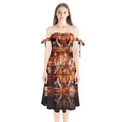 Butterfly Brown Puzzle Background Shoulder Tie Bardot Midi Dress