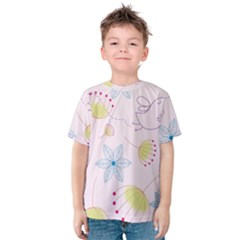 Floral Background Bird Drawing Kids  Cotton Tee