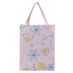 Floral Background Bird Drawing Classic Tote Bag