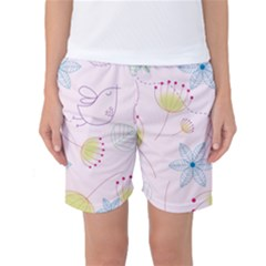 Floral Background Bird Drawing Women s Basketball Shorts