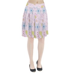 Floral Background Bird Drawing Pleated Skirt