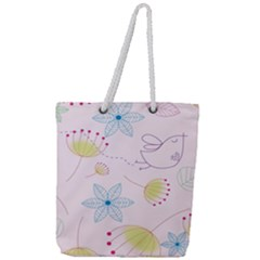 Floral Background Bird Drawing Full Print Rope Handle Tote (large)