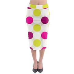 Polka Dots Spots Pattern Seamless Midi Pencil Skirt