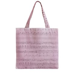 Vintage Pink Music Notes Zipper Grocery Tote Bag