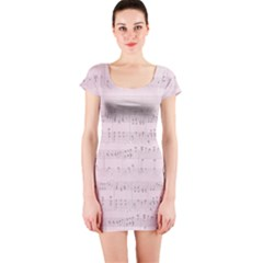 Vintage Pink Music Notes Short Sleeve Bodycon Dress
