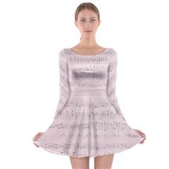 Vintage Pink Music Notes Long Sleeve Skater Dress