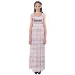 Vintage Pink Music Notes Empire Waist Maxi Dress