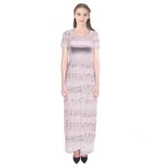 Vintage Pink Music Notes Short Sleeve Maxi Dress