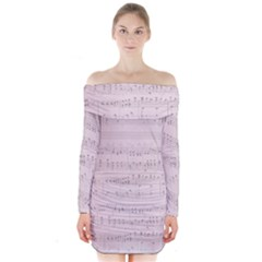 Vintage Pink Music Notes Long Sleeve Off Shoulder Dress