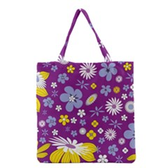 Floral Flowers Wallpaper Paper Grocery Tote Bag