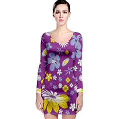 Floral Flowers Wallpaper Paper Long Sleeve Bodycon Dress