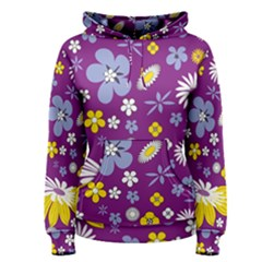 Floral Flowers Wallpaper Paper Women s Pullover Hoodie