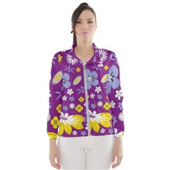 Floral Flowers Wallpaper Paper Wind Breaker (women)
