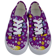 Floral Flowers Wallpaper Paper Kids  Classic Low Top Sneakers