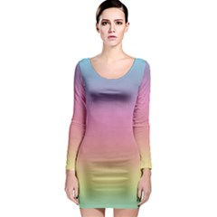 Background Watercolour Design Paint Long Sleeve Bodycon Dress
