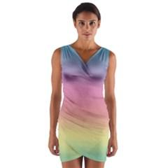 Background Watercolour Design Paint Wrap Front Bodycon Dress