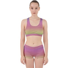 Background Watercolour Design Paint Work It Out Sports Bra Set
