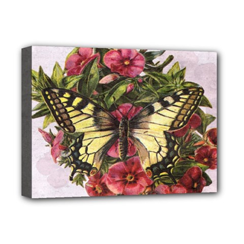 Vintage Butterfly Flower Deluxe Canvas 16  X 12