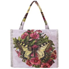Vintage Butterfly Flower Mini Tote Bag