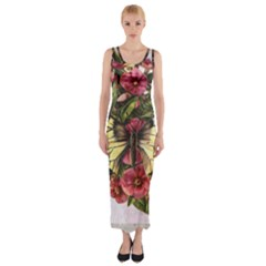 Vintage Butterfly Flower Fitted Maxi Dress