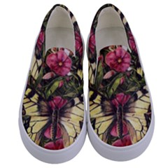 Vintage Butterfly Flower Kids  Canvas Slip Ons