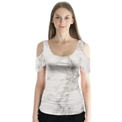 Marble Background Backdrop Butterfly Sleeve Cutout Tee