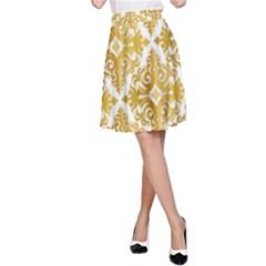 Gold Pattern Wallpaper Fleur A Line Skirt
